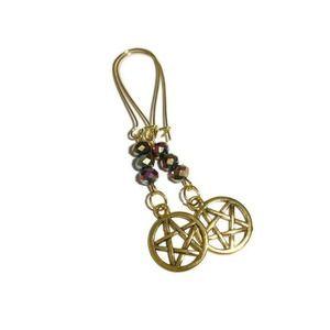 Antique Goldtone Pentagram Earrings
